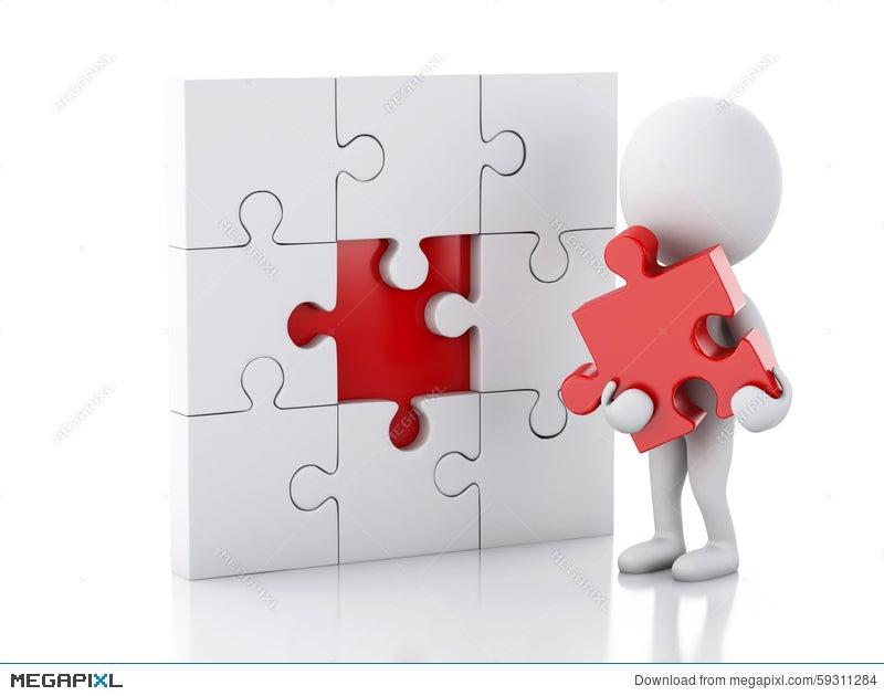 3d White People Assemble Piece Of A Puzzle