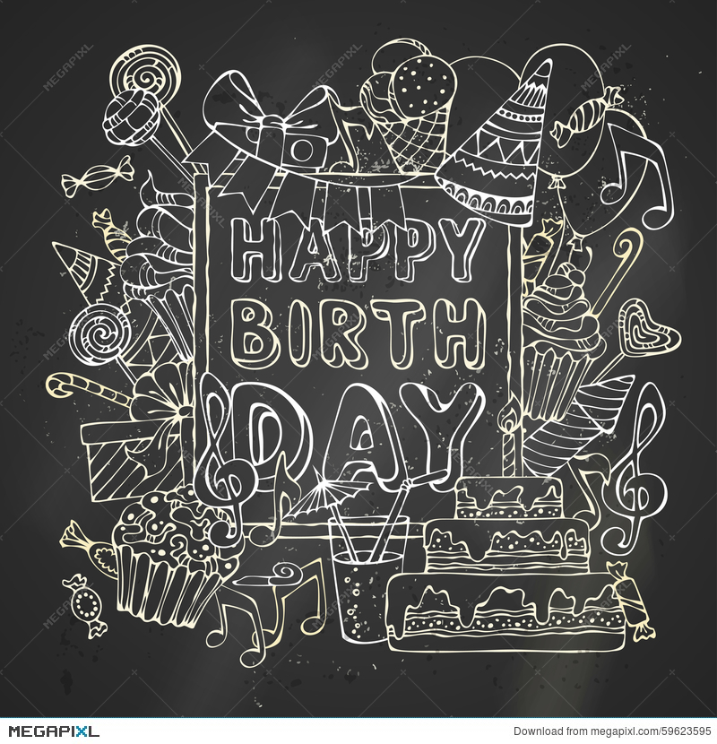 Chalk Happy Birthday Card