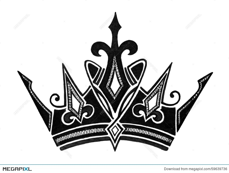 Royal Crown Design In Black And White For King Queen Prince Or