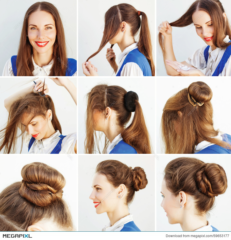 Step By Step Hairstyle Idea For Blog Stock Photo 59653177 Megapixl