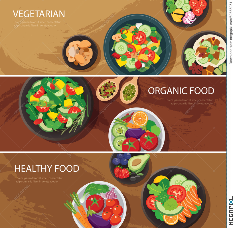 Food Web Banner Flat Design Vegetarian Organic Food Healthy Illustration 59665081 Megapixl
