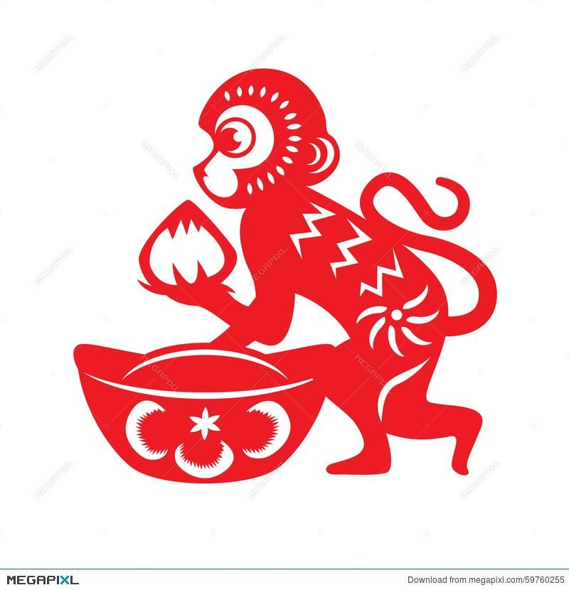 Red Paper Cut Monkey Zodiac Symbol Monkey Holding Peach And Chinese