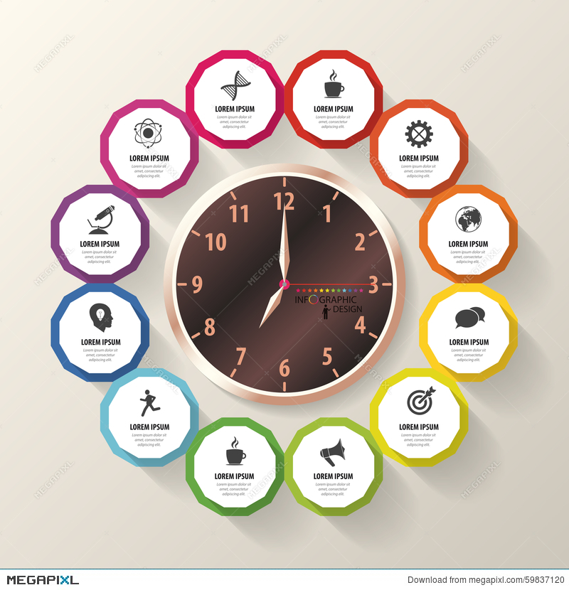 Infographic Design Template Business Plan Modern Clock Vector - Business plan design template