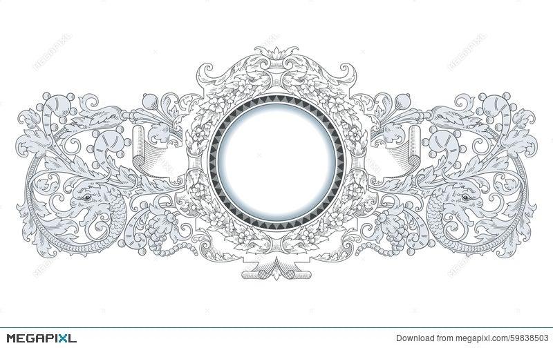 Dragon Frame Ornament Illustration 59838503 - Megapixl