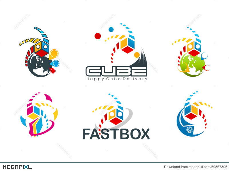 Active Cube Logo, Speed Box Symbol, Fast Destination Concept