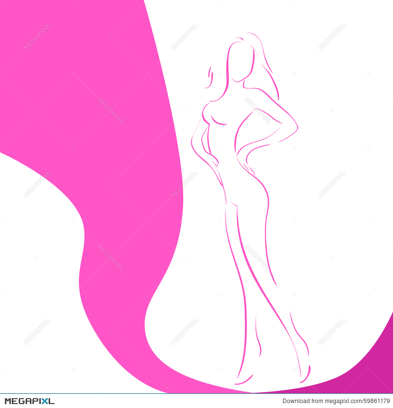 Woman Line Silhouette Pink Ribbon Breast Cancer Illustration 59861179 Megapixl