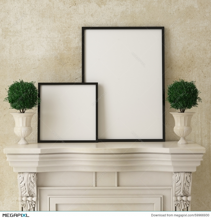 Mock Up Poster Frames On Retro Fireplace, Vintage Interior ...