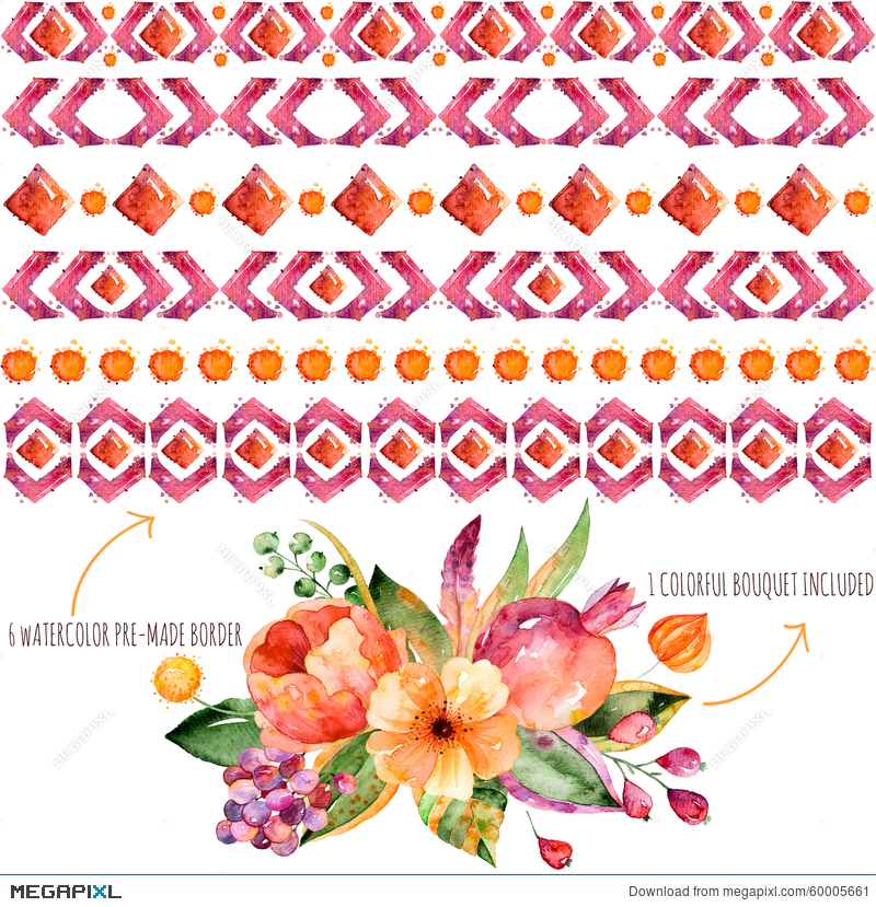 6 Watercolor Borders For Your Own Compositions 1 Colorful Autumn Bouquet With Leaves
