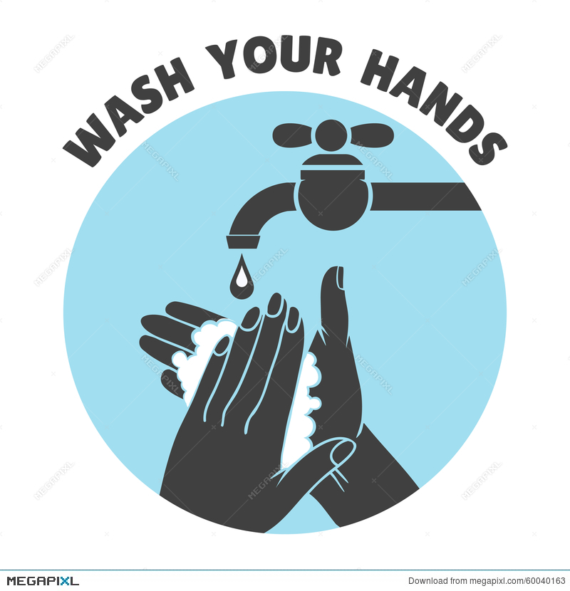 Wash Your Hands Or Safe Hand Washing Vector Symbol Illustration