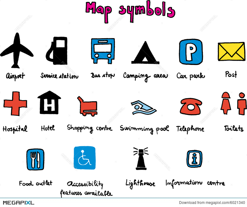 symbols used in maps Map Symbols Illustration 6021340 Megapixl symbols used in maps