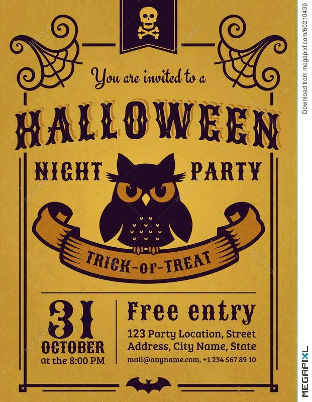 Halloween Party Invitation. Vector Card. Illustration 60210439 ...