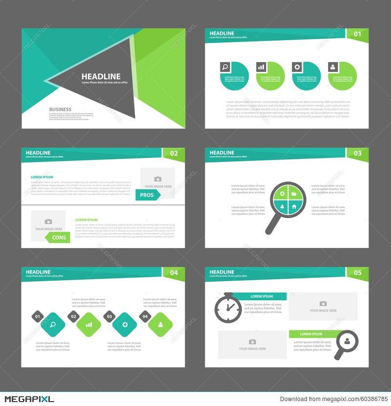 green presentation template annual report brochure flyer elements