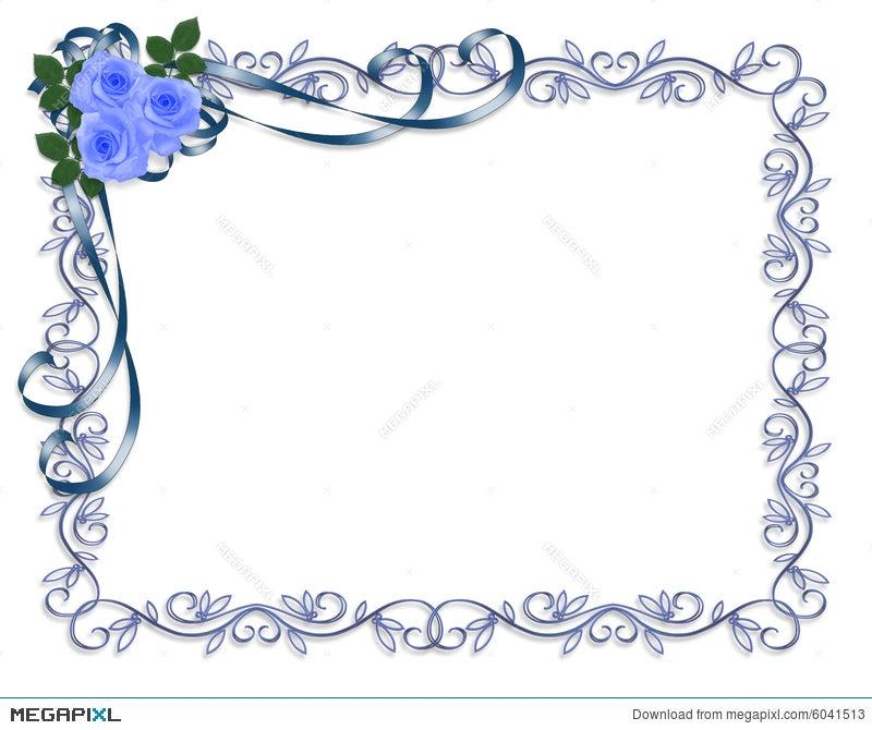 Blue Roses Wedding Invitation Border Illustration 6041513 Megapixl