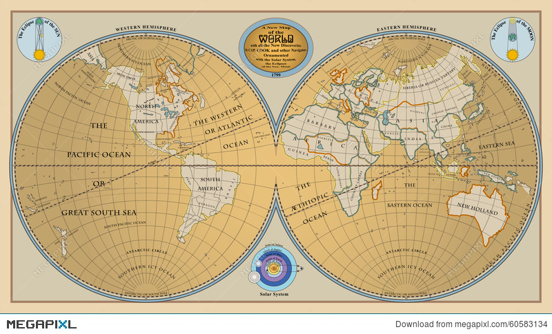 Vector of old globe map of world with new discoveries of 1799 royalty free gumiabroncs Gallery