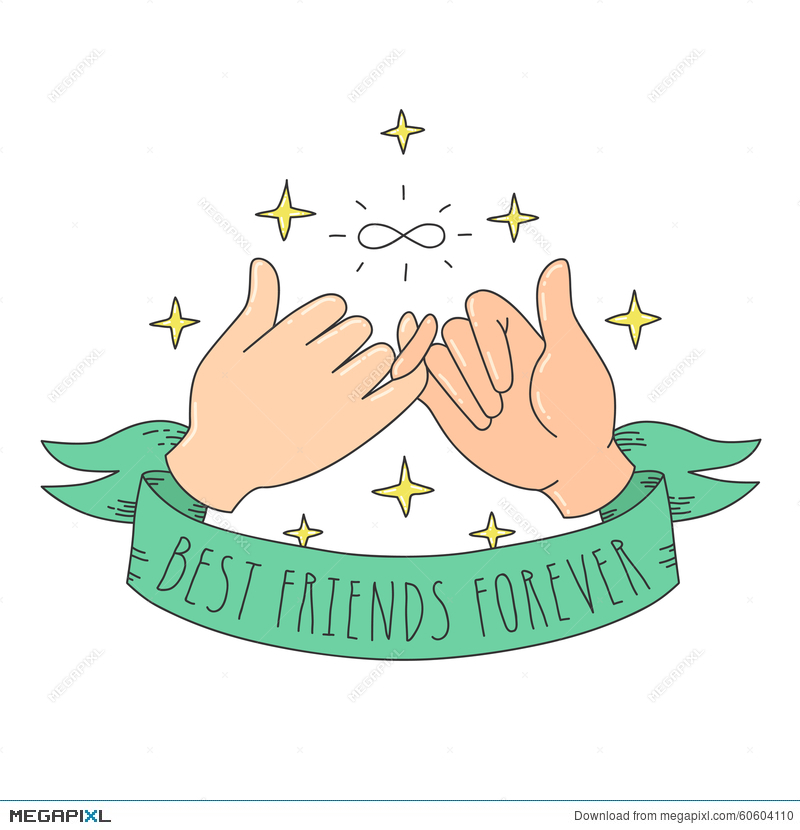 Best Friends Forever Cartoon Style Little Fingers With Infinity Sign