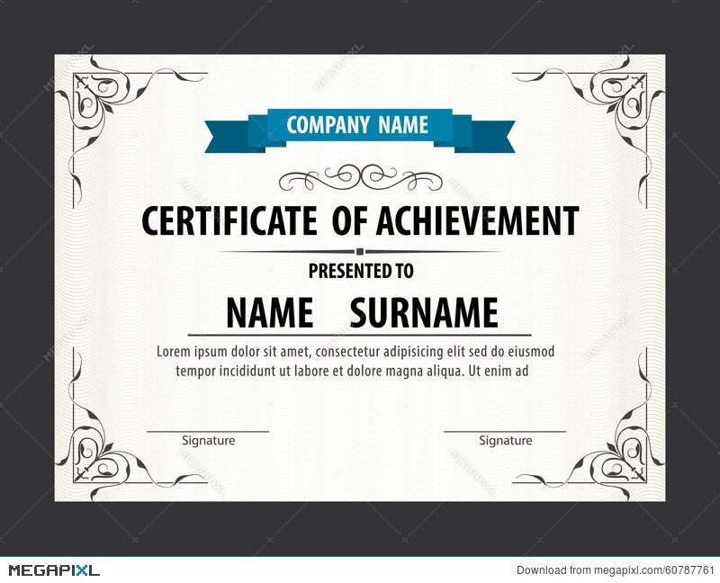 Horizontal Certificate Templatediplomaletter Size Vector