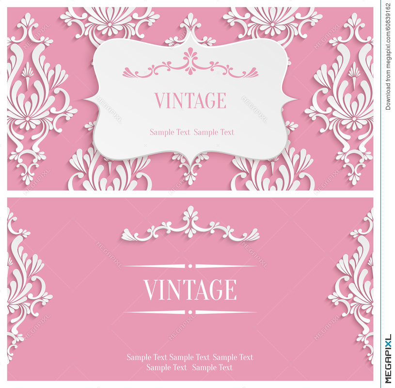 Vector Pink D Vintage Invitation Template With Floral Damask