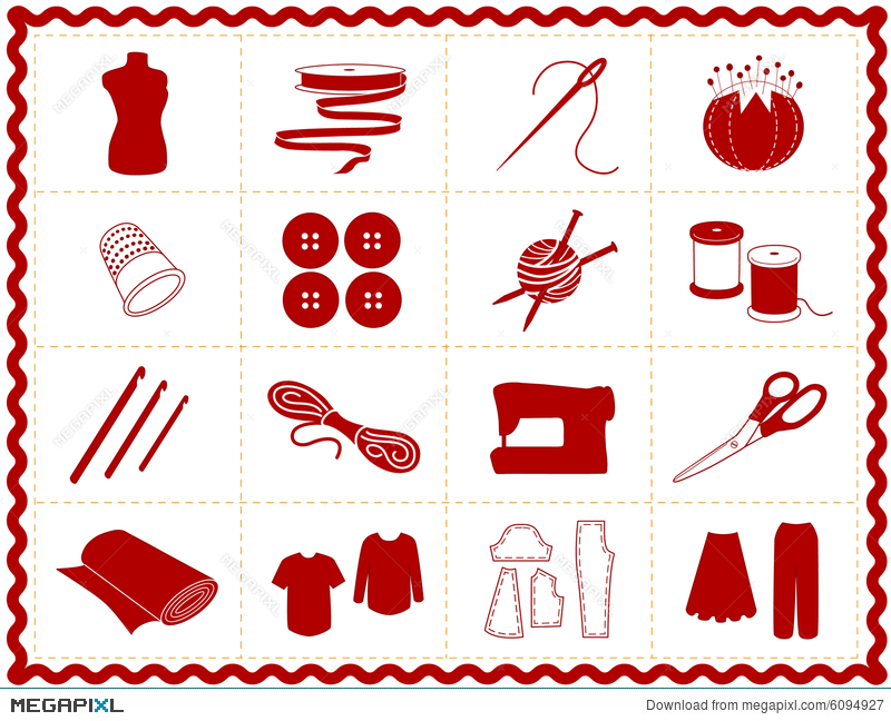 Sewing craft icons red silhouette illustration 6094927 megapixl solutioingenieria Images