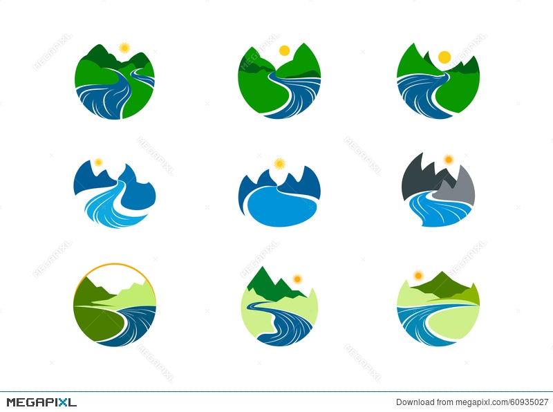 River Logo, Nature Mountain Symbol Design Illustration 60935027