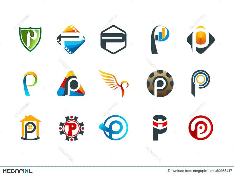 Letter P Logo Modern Business Corporate Symbol Design Illustration