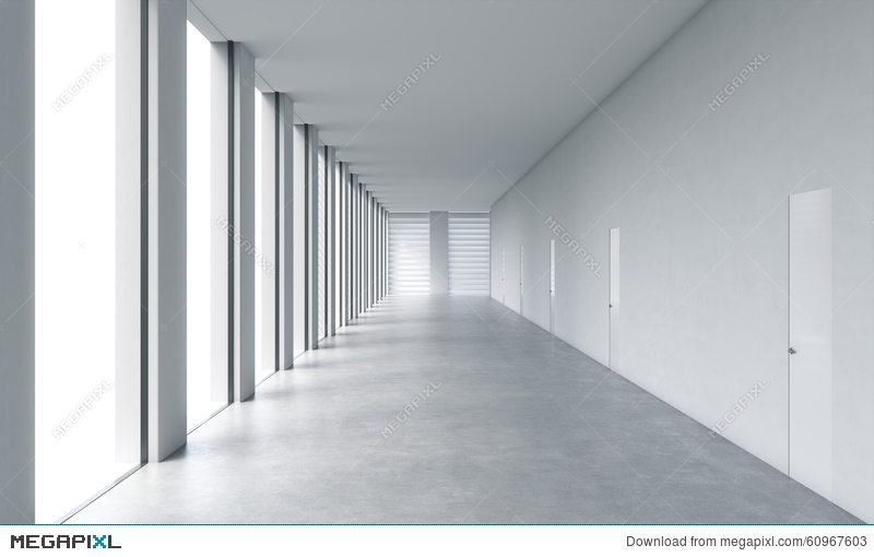 Empty Modern Bright Clean Interior Of An Open Space Office Huge Panoramic Windows With White Copy Space And White Walls Illustration 60967603 Megapixl