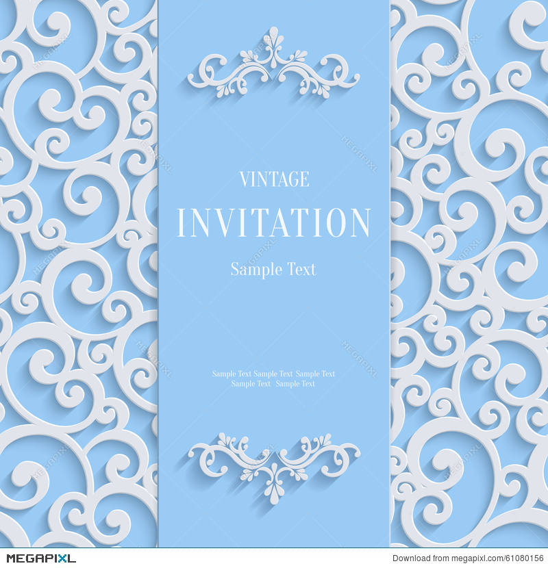 Vector blue 3d vintage invitation card with swirl damask pattern vector blue 3d vintage invitation card with swirl damask pattern stopboris Images