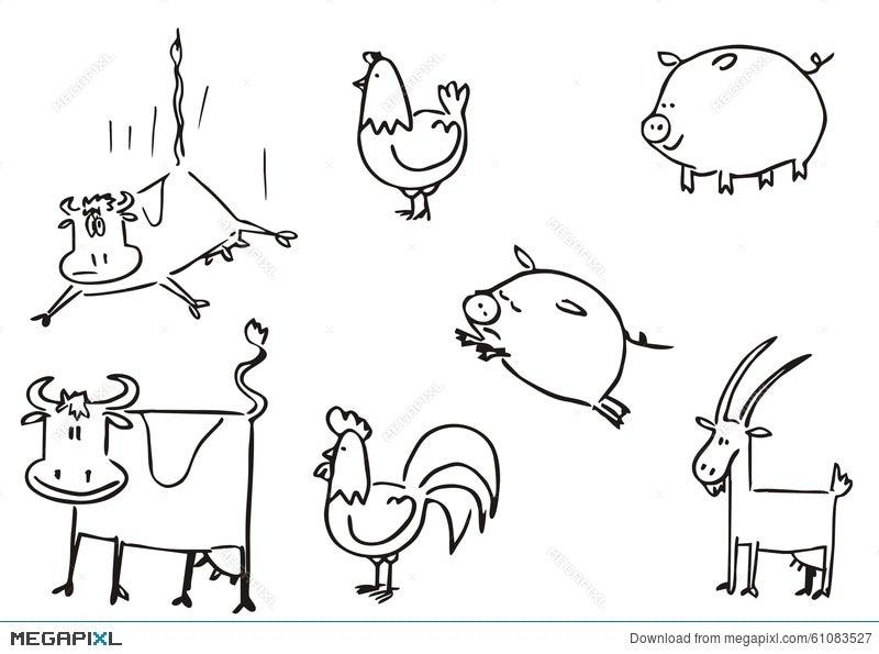 Farm Animals Simple Clipart Illustration 61083527