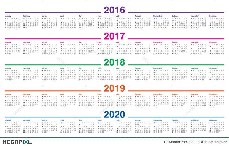 Calendar 2016 2017 2018 2019 2020 Illustration 61092055   Megapixl