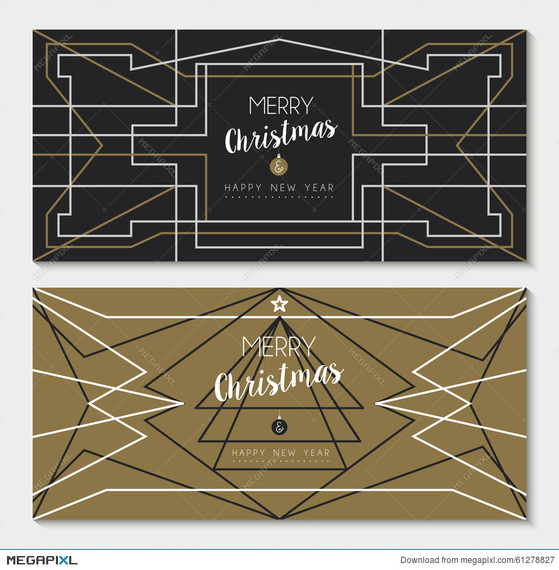 merry christmas new year art deco outline card set