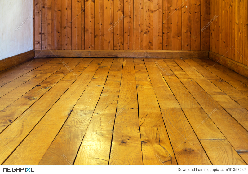 Old Varnished Wooden Floor And Wall Of Room Stock Photo 61357347