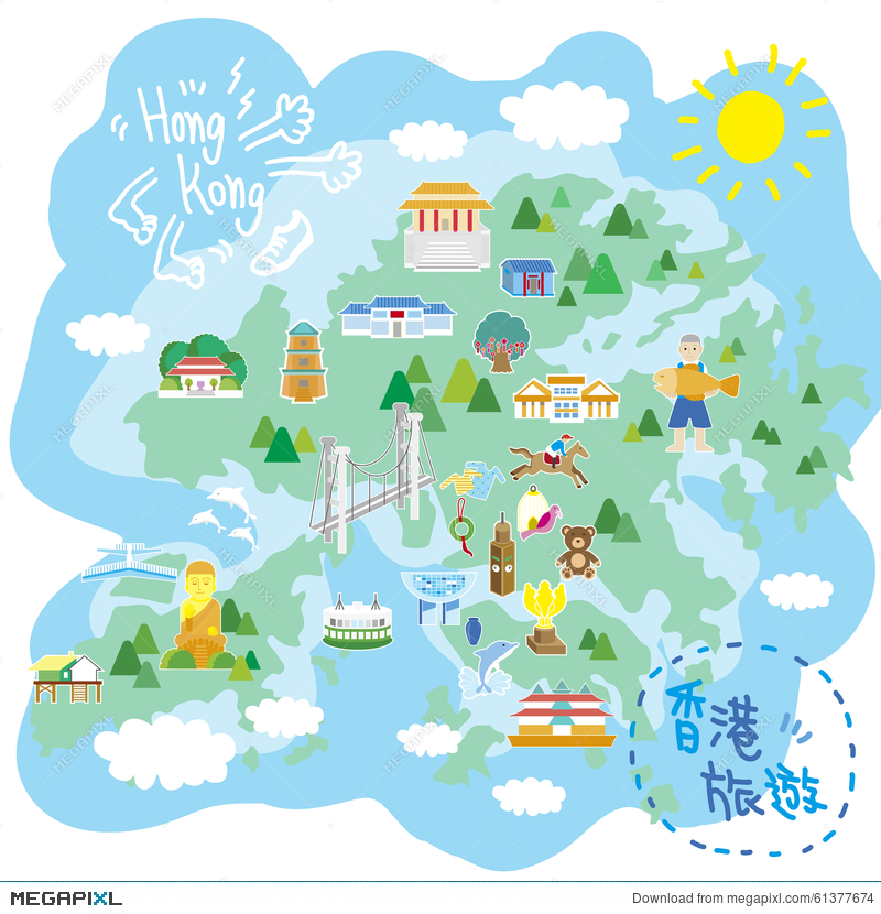 Hong Kong Travel Map Illustration 61377674 Megapixl