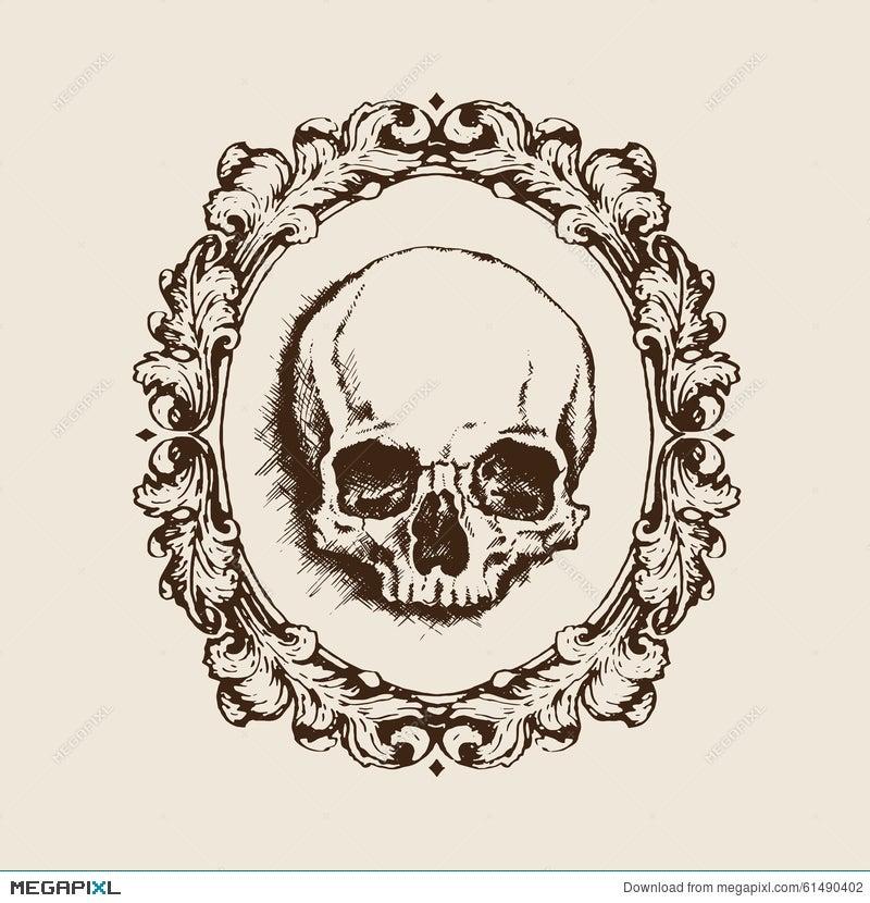 Human Skull In Filigree Frame. Vector Illustration Illustration ...