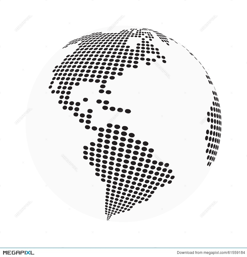 Globe earth world map abstract dotted vector background black and globe earth world map abstract dotted vector background black and white silhouette illustration gumiabroncs Gallery