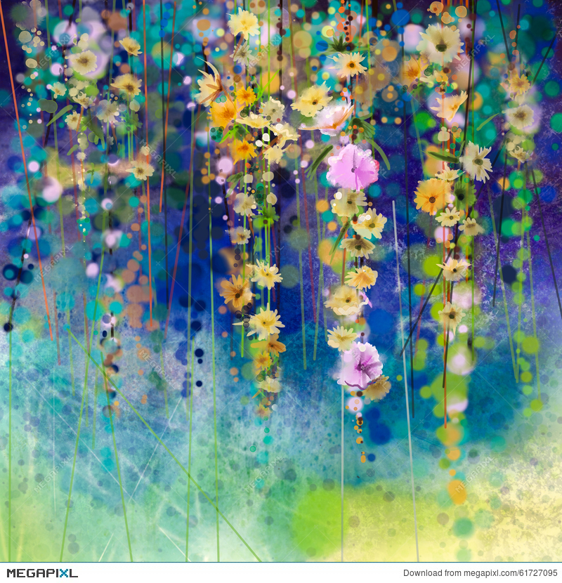 Abstract Floral Watercolor Painting Spring Flower Seasonal Nature Background
