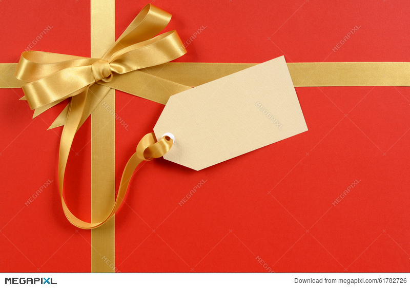 gift tag or label red background gold ribbon bow copy space christmas