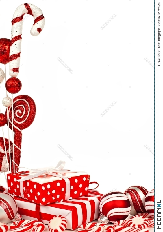 Red And White Christmas Border With Gifts Baubles Candy