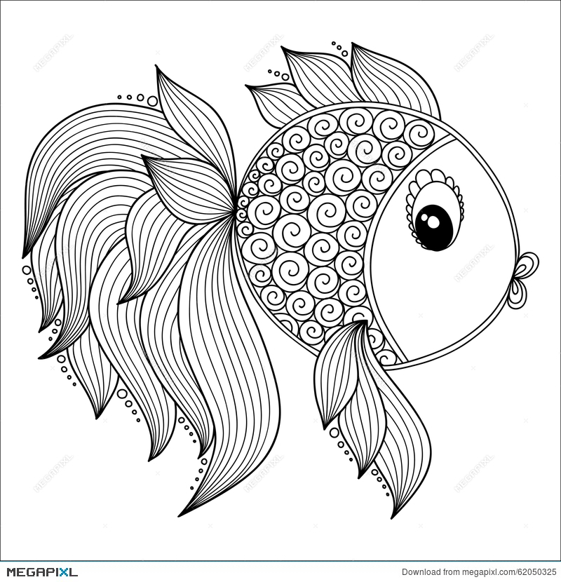 Pattern For Coloring Book. Cute Cartoon Fish. Illustration 62050325 ...