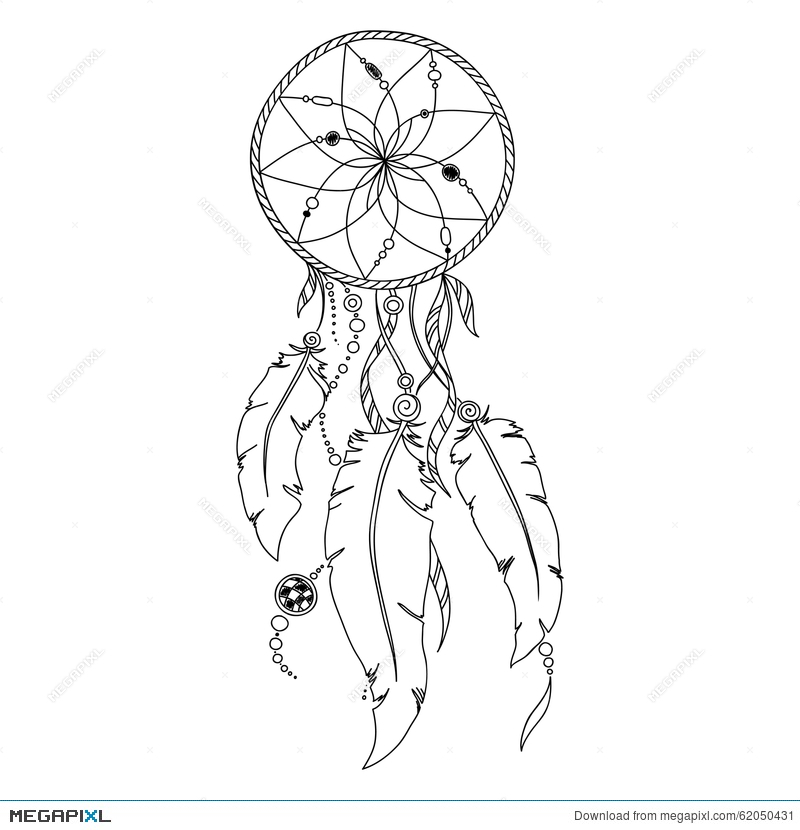 Pattern For Coloring Book. Dream Catcher Illustration 62050431 - Megapixl