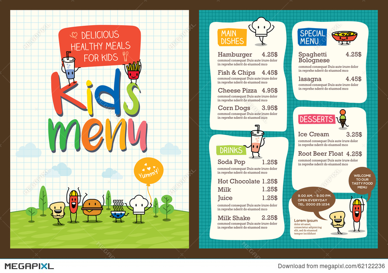 Cute Colorful Kids Meal Menu Template Illustration 62122236 - Megapixl