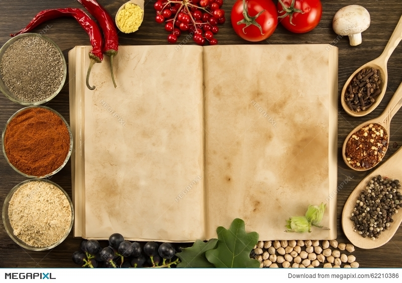 Open vintage book with spices on wooden background healthy open vintage book with spices on wooden background healthy vegetarian food recipe menu forumfinder Gallery