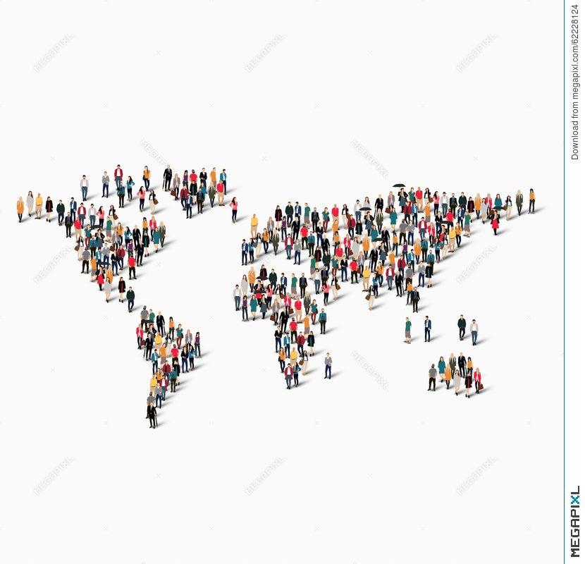 Group People Shape World Map Illustration Megapixl - World map shape