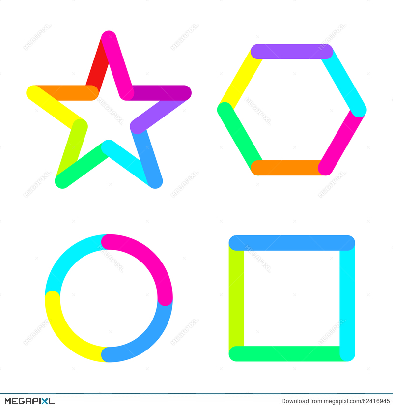 Star Circle Rhomb Square Logo Sign Symbol Set Illustration 62416945