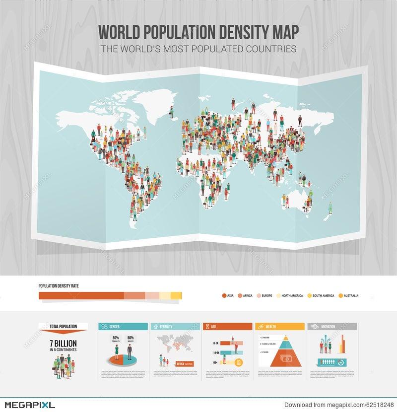 World Population Density Map Illustration Megapixl - World density map