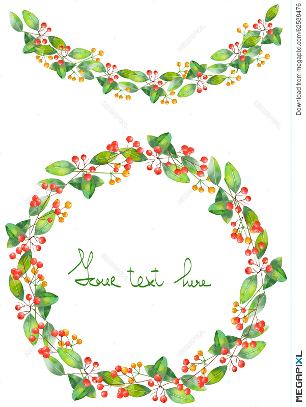 christmas wreath frame and garland of watercolor branches with the red berries and green - Wreath Frame