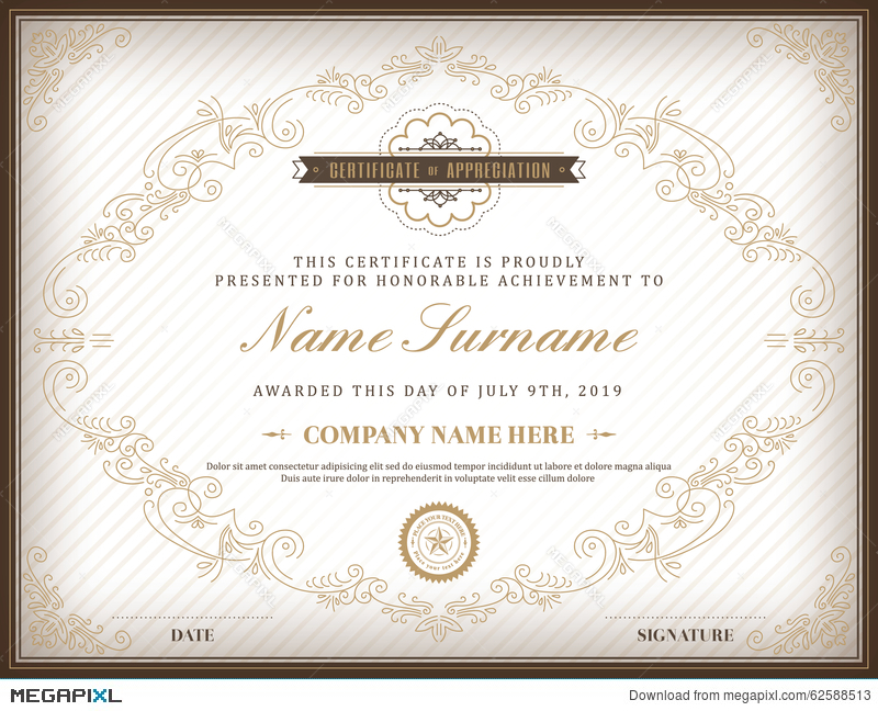 vintage retro frame certificate design template illustration