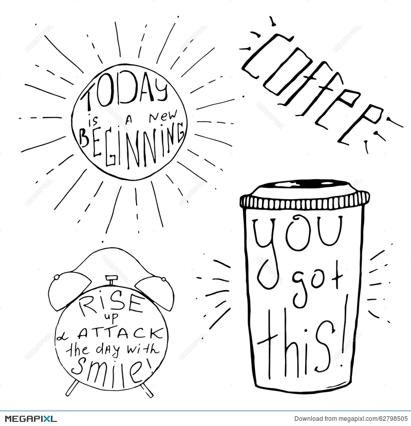 Handdrawn Inspirational And Motivational Quotes Set For Morning Vector Typography Design Black On White