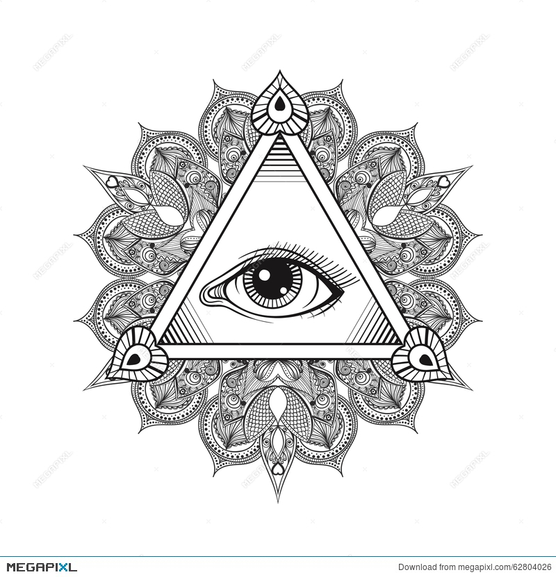 Vector All Seeing Eye Pyramid Symbol Tattoo Design Vintage Han