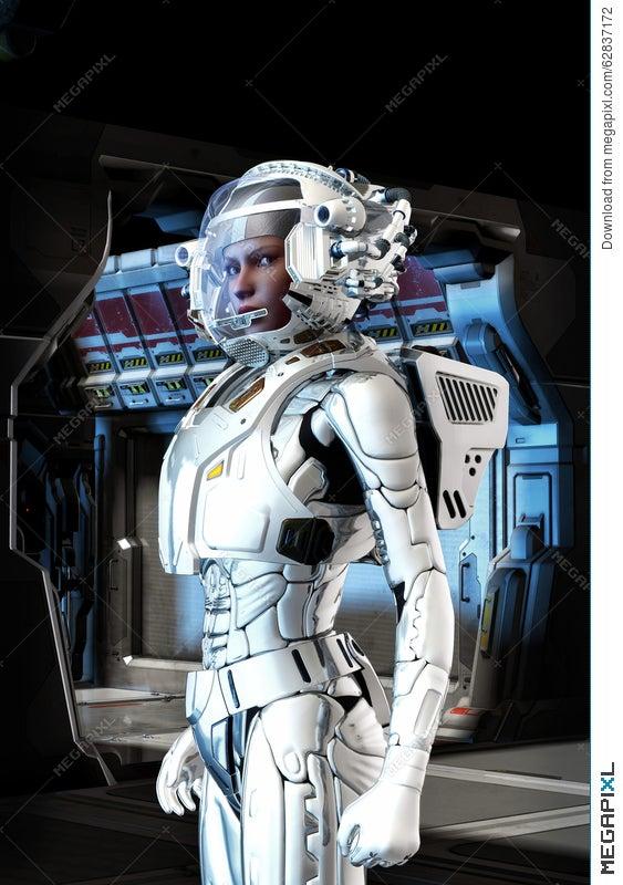 Futuristic Astronaut Girl In Space Suit Illustration