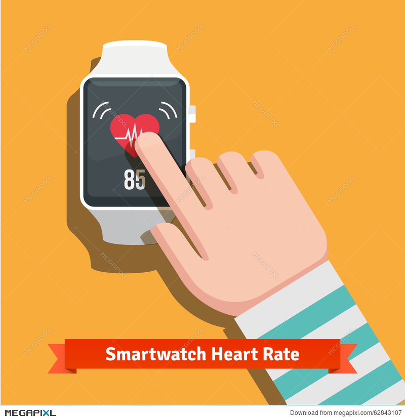 White Smart Watch Showing Heart Beat Rate App Illustration