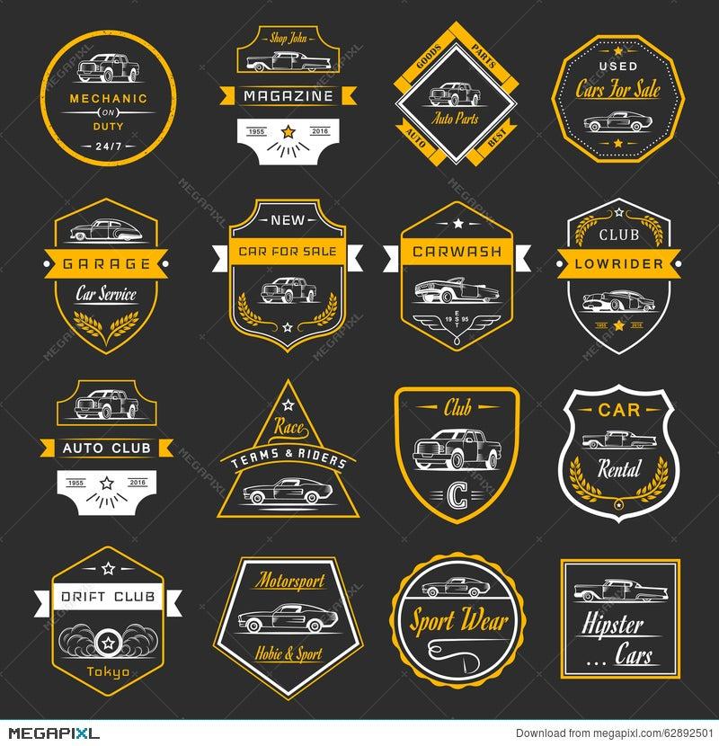 Vector Set Of Vintage Car Badges And Sign Illustration 62892501 ...